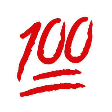 100 hundred point text vector icon template red brush color for social media Instagram Facebook Whatsapp status story