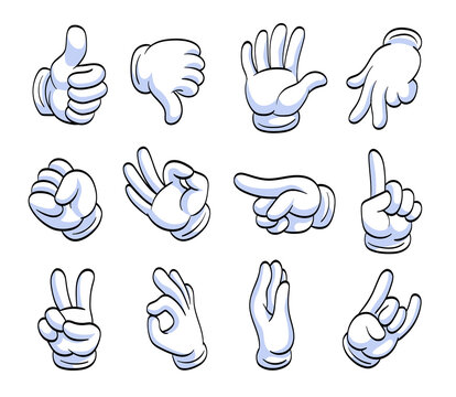 Different cartoon hands in white gloves flat icon set. Human character hand pointing with finger, waving, showing, thumbing up vector illustration collection. Expression and gesture concept