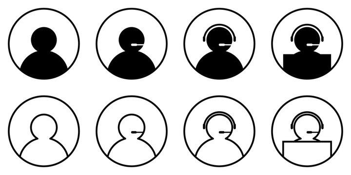Conjunto de iconos de llamada telefónica,servicio atención al cliente. Ilustración vectorial aislada en un fondo blanco. Usuario con micrófono, audífonos y computadora, call center información