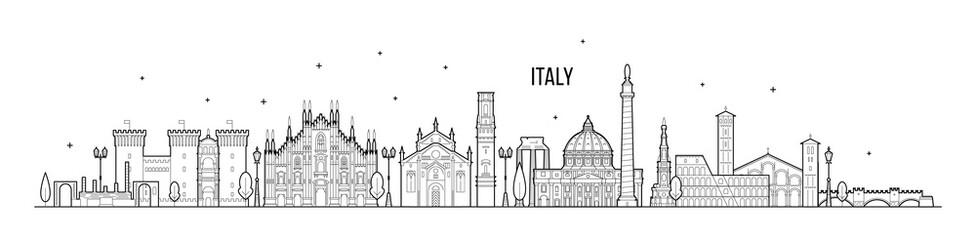 Fototapete - Italy skyline country buildings vector linear art