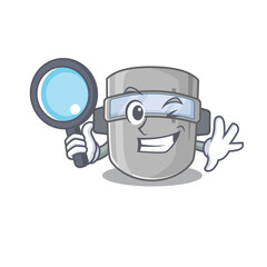 cartoon picture of welding mask Detective using tools