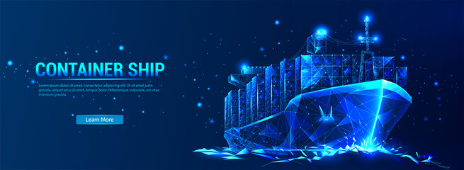 Fototapeta Сontainer ship, cargo ship in futuristic polygonal style with wireframe, triangles low poly on blue background with stars. Marine Logistics Banner. Worldwide cargo ship. Vector illustration