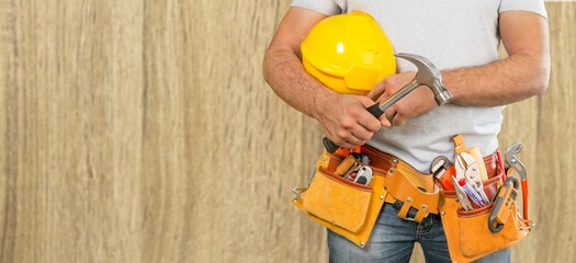 Man worker or professional builder with tools