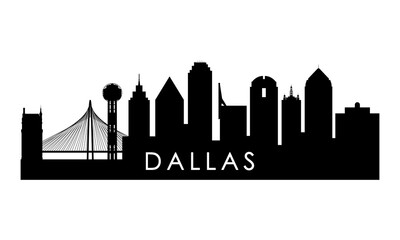 Dallas skyline silhouette. Black Dallas city design isolated on white background.