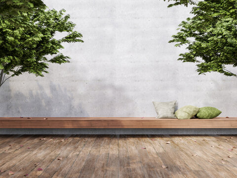 Minimal loft style outdoor terrace 3d render,There are wooden floors, empty concrete walls decorate with long wood bench and green pillow