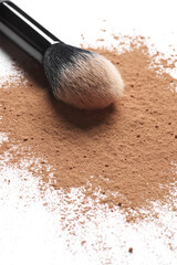 Facial loose powder and makeup brush