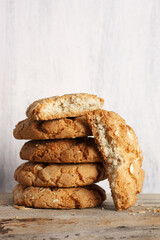 Whole and broken peanut cookies