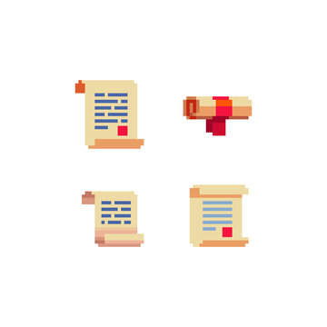 Pixel paper scroll icons set, scripts. Sticker design. Old school computer graphic style. Pixel art 8-bit. Isolated vector illustration.