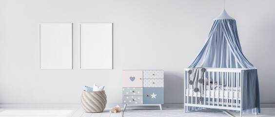 Obraz Mock up frame for bright nursery bedroom with white crib and rattan basket, panorama, 3d render - fototapety do salonu