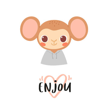 Simple portrait, pretty little animal avatar with lettering quote. Cute monkey head Scandinavian vector illustration. Doodle icon for kids cards, baby shower, posters, b-day invitation, clothes
