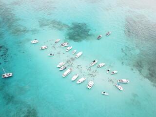 Ocean high drone shot of stingray city