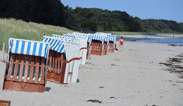 Empty beach chairs at the beach of the Baltic Sea in Glowe on Ruegen Island