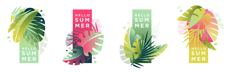 Tropical artistic banners set. Creative compositions of colorful palm leaves and abstract patterns with place for text. Summer sale posters, social media promotion design templates