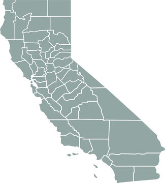 Grey blank California state map.