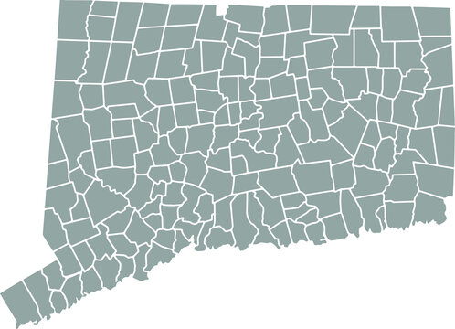 Grey blank Connecticut state map.