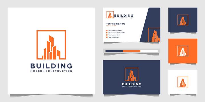 Building logo design with modern concept. city building construction abstract for logo design inspiration. logo design and business card Premium Vector