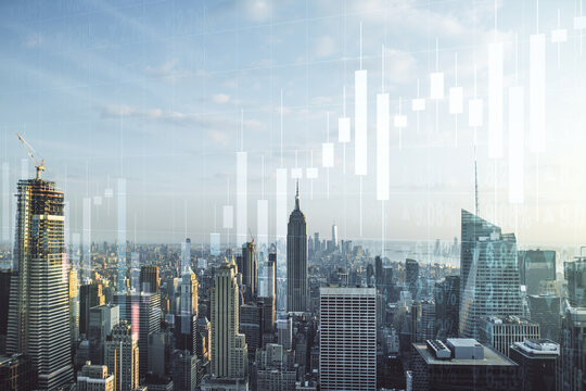 Double exposure of virtual creative financial diagram on New York office buildings background, banking and accounting concept