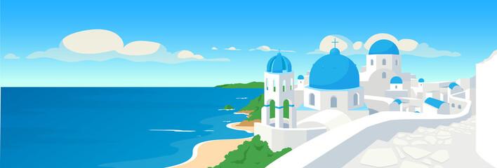 Greek coastal town flat color vector illustration Wall mural