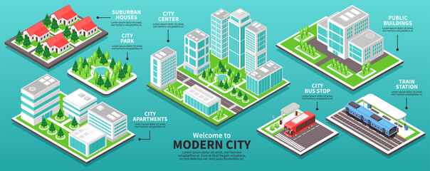 Isometric Modern City Infographics