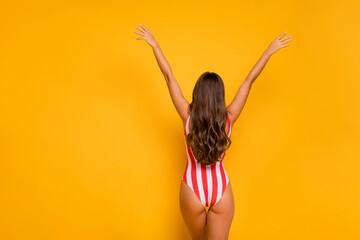 Foto op Plexiglas Ezel Rear back behind view of nice-looking attractive alluring fit thin slim slender sporty juicy girl model posing rising hands up exotic tour isolated bright vivid shine vibrant yellow color background