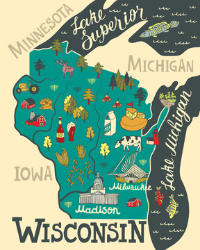 Illustrated map of  Wisconsin, USA. Travel and attractions. Souvenir print