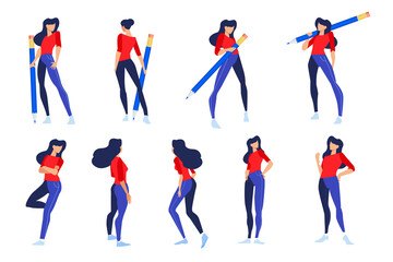 Vector illustrations of woman in different poses with pencil. Concepts for graphic and web design, marketing material, business presentation templates.