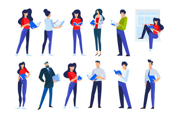 Vector illustrations of people in different poses read a book. Concepts for graphic and web design, marketing material, business presentation templates, education, book store and library, e-book.