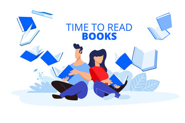 Time to read books. Vector illustrations of a man and a woman read books. Concepts for graphic and web design, marketing material, education, book store and library, e-book.