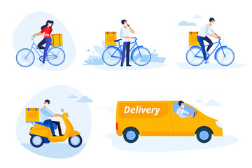 Delivery. Set of flat design vector illustrations on the topic of delivery, courier service, transport, e-commerce and delivery of products purchased online. Concepts for graphic and web design.