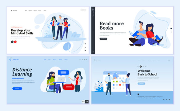 Web page design templates of distance learning, back to school, library and book store, business skill. Vector illustration concepts for website development.