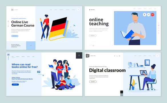 Web page design templates of digital classroom, online teaching, e-book, language school. Vector illustration concepts for website development.