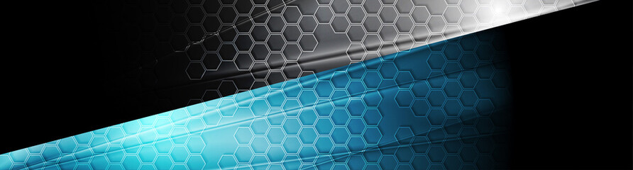Wall Mural - Black and blue tech glossy banner with honeycomb texture. Geometric abstract vector background