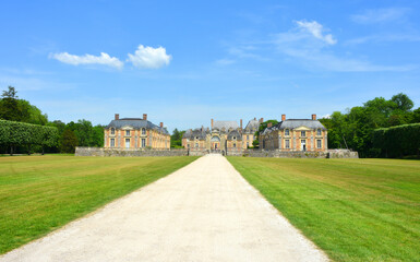 La Ferte Saint Aubin, France, 05-28-2017 historical castle ensemble view from the park