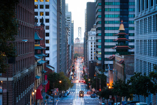Downtown San Francisco with cable car on California Street at dawn, San Francisco, California, USA