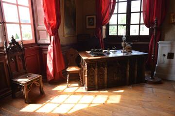 La Ferte Saint Aubin, France, 05-28-2017 main office inside the castle with historical furniture