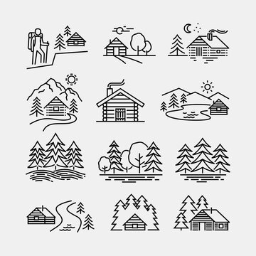Log Cabin in Forest Vector Line Icons