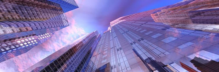 Wall Mural - Skyscrapers against the sky, bottom view, modern high-rise buildings, 3D rendering