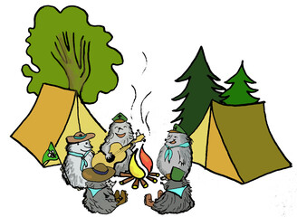 Fototapeta Cartoon drawing of hedgehogs as scouts in the woods by the fire singing and playing the guitar in the woods with a tent obraz