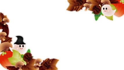 ハロウインの可愛いお化けと秋の葉やカボチャやキノコにのイラストフレーム背景素材