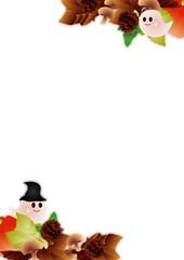 ハロウインの可愛いお化けと秋の葉やカボチャやキノコにのイラストフレーム背景素材縦