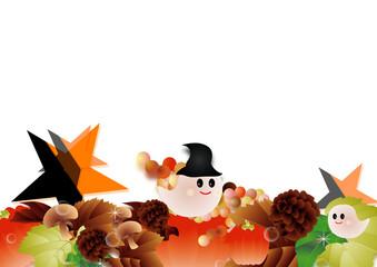 ハロウインの可愛いお化けと秋の葉やカボチャやキノコに星のイラスト背景素材