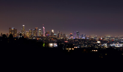 Los Angeles downtown view at night, panorama view from griffith park
