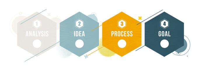 Fototapeta vector illustration. Stylish design graphic infographics process of 4 steps. diagram presentation 4 options or steps. vector design stylish dynamic frames for text. obraz