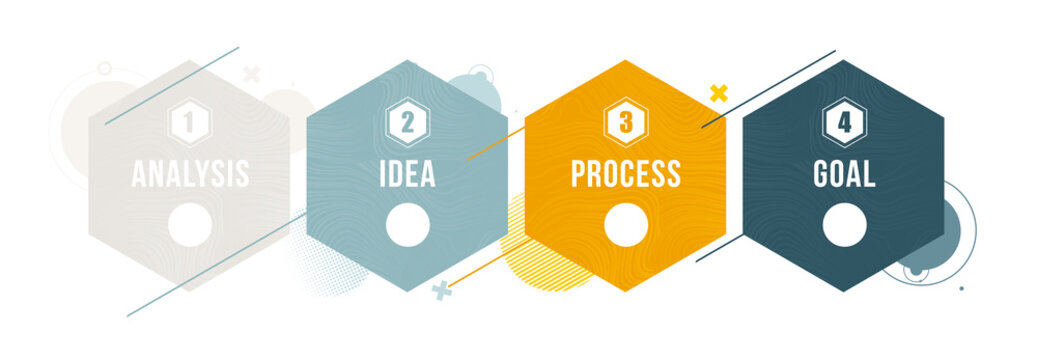 vector illustration. Stylish design graphic infographics process of 4 steps. diagram presentation 4 options or steps. vector design stylish dynamic frames for text.