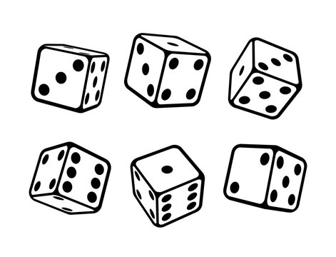Game dice isometric icons set isolated vector illustration