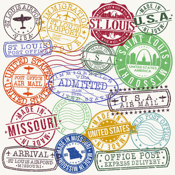 Saint Louis Stamp Vector Art Postal Passport Travel Design Set Badges.