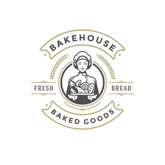 Bakery badge or label retro vector illustration baker woman holding basket with bread silhouette for bakehouse.