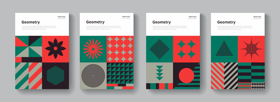 Collection of geometric covers. Abstract Bauhaus pattern. Retro shapes composition.