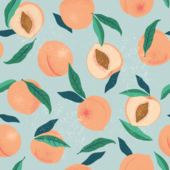 Peach or apricot seamless pattern. Hand drawn fruit and sliced pieces. Summer tropical endless background. Vector fruit design for label, fabric, packaging