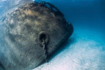 Nose of Telamon wreck ship underwater in ocean near Arrecife, Lanzarote